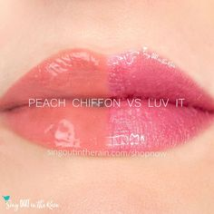 Compare Peach Chiffon vs. Luv It LipSense using this photo.  Peach Chiffon is part of the Posh Pastels Collection by SeneGence - for your perfect Spring lips.