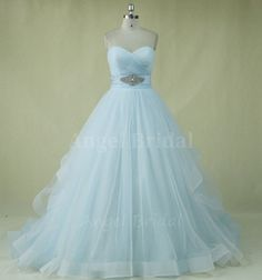 Light Sky Blue Wedding Dress,Tulle Wedding Dress,A-Line Wedding Dress,Wedding Dresses on Etsy, $299.00