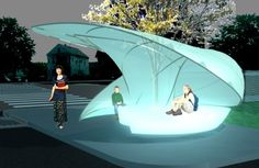 Acconci, that grows out of a Concept Architecture, Landscape Architecture, Bus Stop Design, Edgewater Park, Bus Shelters, Shelter Design, Stop Light, Street Furniture, Stage Design