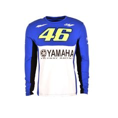 2017 Men's Valentino Rossi VR46 46 dual Moto GP Monza Cotton For Yamaha T-shirt Blue White Long Sleeve Tee