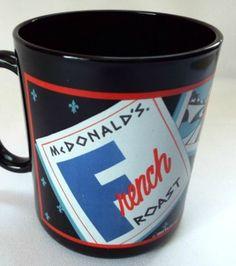 McDonalds Coffee Mug France French Roast Food Advertising Cup Black Vintage 1989 #McDonalds #FrenchRoast