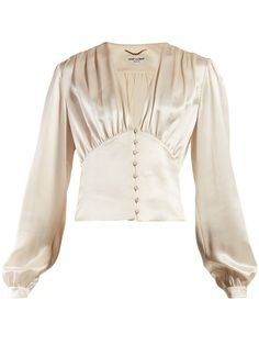 Blouse en satin à col en V Blouse En Satin, Satin Bluse, Satin Skirt, V Neck Blouse, Silk Satin, Look Fashion, Fashion Outfits, Womens Fashion, Fashion Design