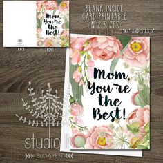 mother's day card, flower card, mum card, card for mom, mothers day greeting…