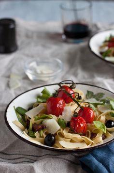 Roasted Tomatos and Chorizo Pasta