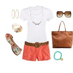 Love Coral Shorts, created by alanad23 on Polyvore