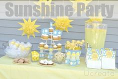 Sunshine Birthday Party in yellow, aqua and grey--those sunshine poms {and cake pops} are too cute!