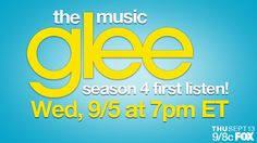 Be the FIRST to hear 5 new GLEE songs from episodes 1 & 2 of the new season TODAY September 5th at 4pm PT/7pm ET. Repin & RSVP HERE!