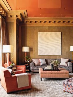 so well done ... lacquered ceilings + beautiful textiles ... scrumptious! Design: S.R.Gambrel