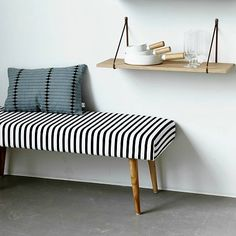Housedoctor Bankje 'Bench Stripe' zwart/wit gestreept 115x40x40 cm