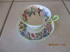 Vintage Shelley Tea Cup and Saucer Floral Colorful Spring Hedgerow #shelley