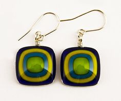 Glass Earrings  Fused Glass Jewelry  Earrings by JulesGlassFusion, $28.00
