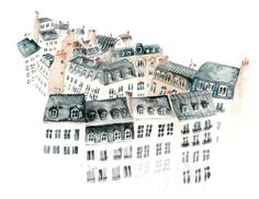 lucyeldridgeillustration:  I painted some rooftops of Paris to post to someone.  town