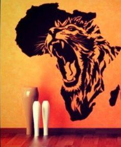 Lion in Africa wall deco Tatoo Africa, Africa Art, Afrika Tattoos, African Symbols, Creation Art, Tier Fotos, Arte Pop, Lion Tattoo, Beautiful Tattoos