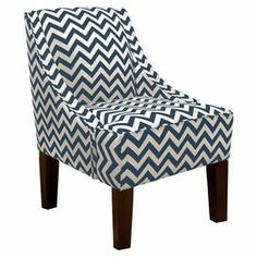 """Add a chic touch of style to your living room or parlor with this charming accent chair, showcasing a bold chevron motif and classic pine wood frame. Handmade in the USA.      Product: ChairConstruction Material: Foam padding, fabric and pine wood Color: Titan birch and whiteFeatures: Chevron motifHandmade in the USADimensions: 34"""" H x 22.5"""" W x 30"""" DCleaning and Care: Spot clean"""