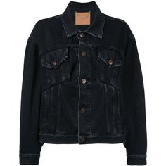 Balenciaga Swing Denim Jacket ($1,135) ❤ liked on Polyvore featuring outerwear, jackets, denim blue, jean jacket, blue jean jacket, balenciaga, blue jackets and balenciaga jacket