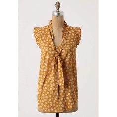 Anthropologie Blouse Mustard Odille Ruffle 0 Bought at anthro, brand is odille Ruffle neck and arm detail Tie front Very comfy, light and soft fabric Great condition like new Cotton rayon blend light woven fabric    👗₡ŁØ$EŦ ₦ØŦE$👙 ❌No Trades 💰Bundle Away! 10% off 2 items ✅Fair offers considered! 📸Ask for more measurements or pix 📧Always cheaper on Ǝ.Ᏸąყ 👉🏻koli9071  📦🌺Ships from Hawaii next business day Anthropologie Tops Blouses