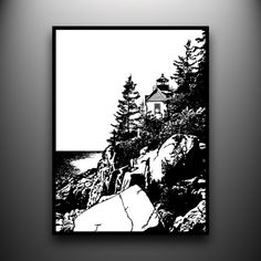 Hand-cut paper art: Bass Harbor Light, Acadia Maine, 18x24 framed and ready to be added to your art collection!