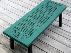 Cribbage Coffee Table, Spruce Green, Handcrafted, Cribbage Board, Unique…