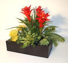 Artificial Bromeliads with Succulents Arrangement Artificial Succulents, Succulent Arrangements, Gardens, Contemporary, Plants, Color, Design, Craft, Planters