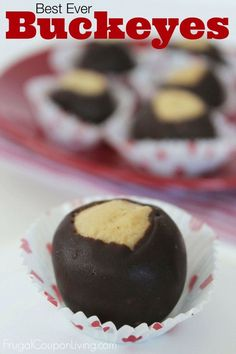 Best Ever Buckeyes – Chocolate and Peanut Butter Recipe, perfect for the Holiday Season. Christmas Dessert found on Frugal Coupon Living.