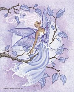 Dreaming In Lavender fairy 8X10 PRINT by Amy Brown