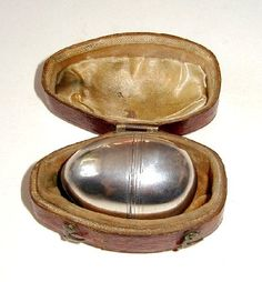 Georgian silver egg-shaped Nutmeg grater in carrying case Vintage Silver, Antique Silver, Kwik, Spice Things Up, Old Things, Spice Containers, Pretty Box, Egg Shape, Tea Service