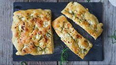 Focaccia med fetaost Spanakopita, Pavlova, Pesto, Quiche, Mozzarella, Zucchini, Muffins, Baking, Vegetables