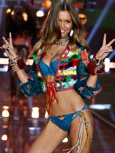 Peace and love from Josephine Skriver at the #VSFashionShow! | Victoria's Secret Lace Unlined Demi Bra and Matching Panty