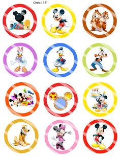 Disney Mickey and pals Birthday Cupcake Toppers or gift tags Circles Receive one high resolution file via email for printing. You get 12 Mickey Mouse Clubhouse Invitations, Mickey Mouse Party Supplies, Mickey Mouse Gifts, Mickey Mouse Balloons, Disney Mickey Mouse Clubhouse, Baby Mickey Mouse, Mickey Minnie Mouse, Mickey 1st Birthdays, Mickey Birthday