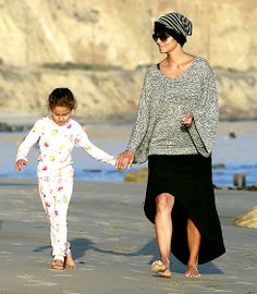 A pajama-clad Nahla Aubry and mom Halle Berry (who gave birth to baby boy Maceo back in October) spent the day in Malibu Dec. 21.