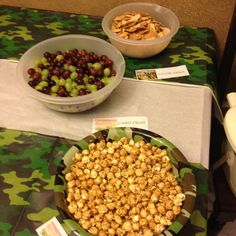 Hunting theme party: Red/green grapes (camo fruit) Potato skin chips Caramel popcorn (ammo)