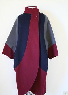vintage 80s COLOR BLOCK COCOON batwing cape by PasseNouveauVintage, $99.00
