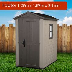 Everyone has different storage requirements, but if you are looking for a small and narrow shed you will be happy to know that the Factor Garden Shed might be the right fit for you! Size (width) x (depth) Height Back Gardens, Outdoor Gardens, Narrow Shed, Plastic Sheds, Garden Storage Shed, Transom Windows, Roof Structure, Double Doors, Skylight
