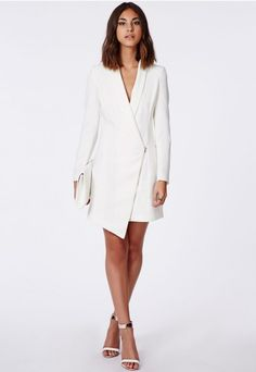 Sancha Long Line Asymmetric Zipped Blazer Dress - Blazers - Missguided
