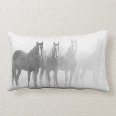 Shop Black and White Western Horses Lumbar Pillow created by ZiAuraSouthwest. Lumbar Pillow, Bed Pillows, Horse Bedding, Western Bedrooms, Custom Pillows, Boss Lady, Bedding Sets, Westerns, Tapestry