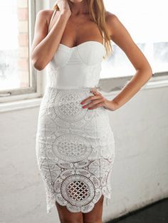 White Crochet Lace Panel Split Back Spaghetti Strap Bodycon Dress | Choies