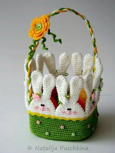 Crochet basket diy tutorials Ideas for 2019 Easter Crochet Patterns, Crochet Basket Pattern, Crochet Bunny, Afghan Crochet Patterns, Cute Crochet, Crochet Crafts, Crochet Projects, Crochet Bag Tutorials, Easter Crafts