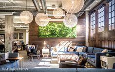 Artisan Moss green wall art for 36 Degrees North common room in Tulsa, Oklahoma