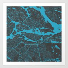 Stockholm Map Art Print by Map Map Maps - $18.00---------------------------If you like my work, you can folllow my Facebook account : https://www.facebook.com/MapMapMaps