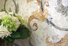 Ikebana, a natural stone hand cut mosaic shown in honed Lagos Gold, Verde Luna, Travertine Noce and polished Topaz Onyx, is by James Duncan for New Ravenna Mosaics. Mosaic Backsplash, Mosaic Wall, Mosaic Tiles, Kitchen Mosaic, Stone Mosaic, Mosaic Glass, Word Mosaic, Ravenna Mosaics, New Ravenna
