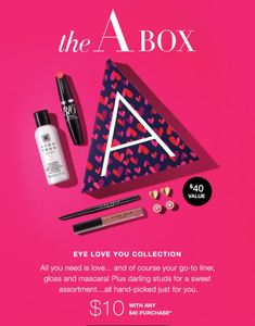 A Valentine's gift that is sure to delight inside! The A Box I Love You Collection. Only $10 with any $40 purchase. #theabox #avon #iloveyoucollection youravon.com/kaymayo