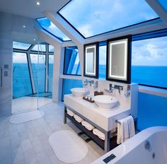 Celebrity Reflection Suite Bathroom with Cantilever Shower - 1 of the 7 Most Luxurious at Sea.