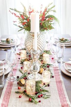 These Christmas table setting ideas are so cute! I'm so glad I found these Christmas table centerpieces and for a simple Christmas table! Now I have some great whimsical Christmas table decor ideas to try in our home! Christmas Table Centerpieces, Christmas Table Settings, Christmas Tablescapes, Christmas Decorations, Holiday Decor, Tree Decorations, Christmas Candles, Seasonal Decor, Whimsical Christmas