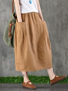 Linen Skirt, Cotton Skirt, Skirt Outfits, Casual Outfits, Fashion Outfits, Skirts With Pockets, Mode Style, Vintage Skirt, Clothes For Women