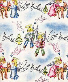 "RARE Vintage Art Deco Xmas Gift Wrap Full Sheet 20x30"" Little Angel Deer Violin   eBay"