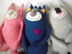 Recycled Sweater Monsters from SweetPoppyCat on Etsy.