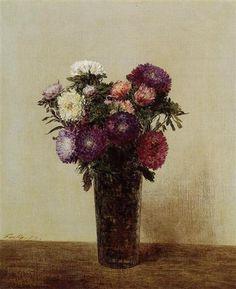 Vase of Flowers Queens Daisies - Henri Fantin-Latour