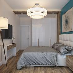 Современный интерьер новой трехкомнатной квартиры (маленькая спальня, торшер, берюзовый, small bedroom, floor lamp, turquoise) | Студия LESH