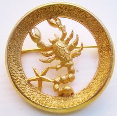REPIN THIS: Free Domestic Shipping 1960s CROWN TRIFARI Scorpio pin by NfrKaVintage on ETSY $24.99. Visit www.nfrkavintage.etsy.com  Vintage Jewelry, Earrings, Bracelets, Necklaces and unique gifts