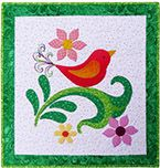 This was made by Linda M. Poole, a quilt artist.  This is named Swirly Bird.  I <3 the colors :-)